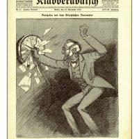 19. Πρωτοσέλιδο γερμανικής εφημερίδας σχετικά με τον Ελευθέριο Βενιζέλο και την Ελλάδα κατά τον Α' Παγκόσμιο Πόλεμο (21 Νοεμβρίου 1915). / Cover of a German newspaper on Eleftherios Venizelos and Greece during World War I (November 21, 1915).