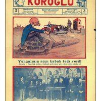 58. Γελοιογραφία τουρκικής εφημερίδας με θέμα τον Ελευθέριο Βενιζέλο. (Εφημ. Koroglu, 1929). / Caricature published in a Turkish newspaper depicting Venizelos. (Newspaper Koroglu, 1929).