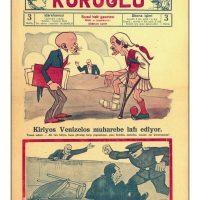59. Γελοιογραφία τουρκικής εφημερίδας με θέμα τον Ελευθέριο Βενιζέλο. (Εφημ. Koroglu, 1929). / Caricature published in a Turkish newspaper depicting Venizelos. (Newspaper Koroglu, 1929). /